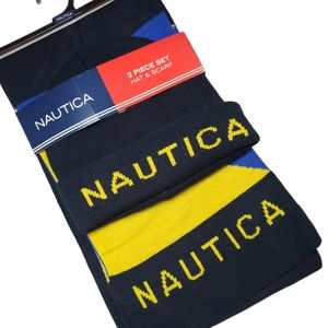NAUTICA hat and scarf set navy, yellow and royal